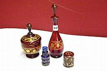 RUBY AND GILDED DECANTER AND STOPPER 24CM, JAR AND