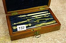 MAHOGANY CASED TECHNICAL DRAWING INSTRUMENT SET