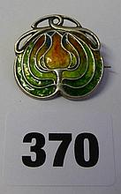 HM SILVER ART NOUVEAU FIREFLY BAR BACK BROOCH