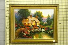 SERGON JULIAS OIL ON CANVAS COTTAGE LANDSCAPE -