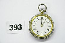 HM SILVER GILT ENGRAVED CASED POCKET WATCH CHESTER