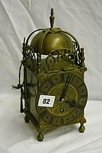20thC REPRODUCTION 17THC STYLE BRASS LANTERN CLOCK