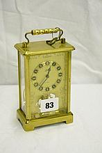 20THC LACQUERED BRASS 8 DAY CARRIAGE CLOCK BY