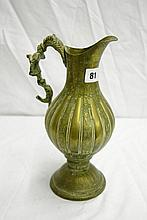 PERSIAN BRASS ENGRAVED RIBBED BALUSTER PEDESTAL