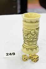 CHINESE CARVED AND STAINED BONE SHAKER AND DIE
