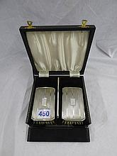 CASED HM SILVER BACKED BRUSH AND COMB SET