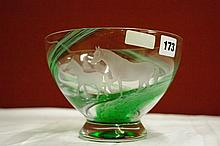 UNSIGNED GREEN FLECKED GLASS BOWL WITH MARE AND