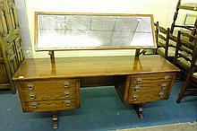 OLD CHARM TYPE OAK DRESSING TABLE ON SHAPED END