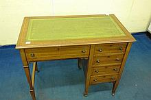 EDWARDIAN MAHOGANY BOXLINE INLAID KNEEHOLE DESK