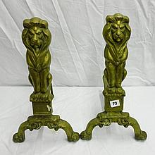 PAIR OF BRASS GUARDIAN LION ANDIRONS 48CM H