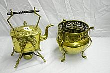 LATE 19TH CENTURY BRASS SPIRIT KETTLE ON STAND AND
