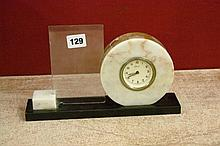 20TH CENTURY KASIER MARBLE AND SLATE DESK CLOCK