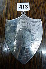 UNMARKED ENGRAVED SHIELD SHAPED PLAQUE T#'THE