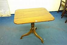 19TH CENTURY MAHOGANY SQUARE TILT TOP TABLE ON