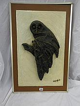 ACRYLIC BAS RELIEF PLAQUE OF AN OWL BY WAGSTAFFE