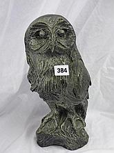 RESIN CAST SCULPTURE OF A PERCHED OWL  35CM H
