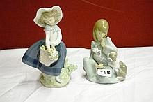 LLADRO 564 SEATED GIRL WITH CAT & PUPPY AND LLADRO