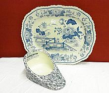 19TH CENTURY STONE CHINA NO21 BLUE AND WHITE