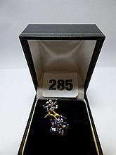 9K GOLD TANZANITE FLORAL SPRAY BROOCH SIZE M