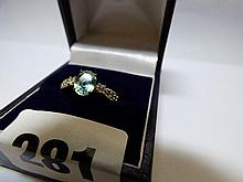 9K GOLD TOURMALINE AND DIAMOND DRESS RING SIZE 0