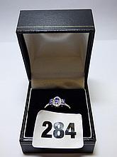 9K WHITE GOLD TANZANITE AND DIAMOND RING SIZE M