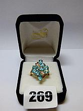 9K GOLD AQUAMARINE FLORAL SPRAY DRESS RING SIZE P