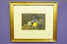 EMILY BOOKER WATERCOLOUR STILL LIFE VASE, MELON