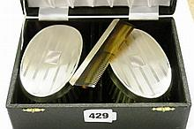 CASED HM SILVER BACKED BRUSH AND COMB SET ENGINE