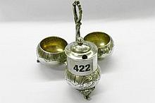 CONTINENTAL WHITE METAL GILT TRIFORM TABLE CRUET,
