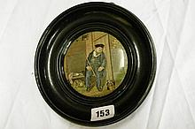 19TH CENTRUY PRATTWARE POT LID TITLED 'ON GUARD'