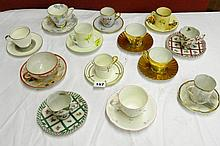 ASSORTMENT OF DECORATIVE COFFEE CUPS AND SAUCERS