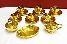 SET OF SIX GILT NORITAKE COFFEE CUPS, SAUCERS,