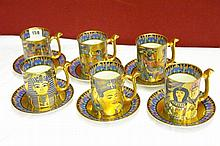 SET OF SIX DECORATIVE EGYPTIAN STYLE MUGS BY