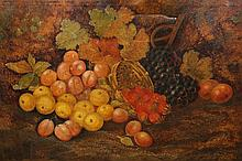 19th Century School, Still life with a basket of fruit, unsigned, oil on canvas, framed. 49.5cm by 75cm