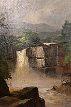 Frank Thomas Carter (1853-1934), High Force, Teesdale, signed lower left, oil on board, framed. 44cm by 31cm