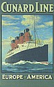 RARE Original 1910s Cunard Line Ship Travel Poster