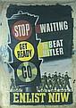 RARE Original American WW II Propaganda Banner Poster