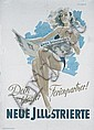 Original German 1950s Illustrated Magazine Poster Plaka