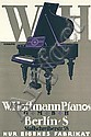 Original 1910s German Piano Poster SCHULPIG Art