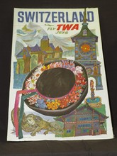 1950's Switzerland Fly TWA Travel Poster, Klein