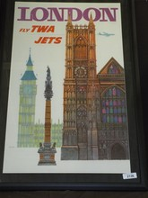 1950's London Fly TWA Travel Poster, Klein
