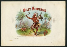 Rare Billy Bowlegs Cigar Label Inner Proof