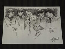 Orig Drawing Ed Sullivan & Beatles, Joe Petruccio