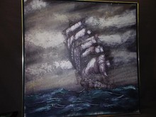 Oil on Canvas. Sailing Ship.