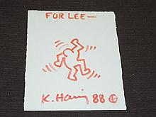 Keith Haring Signed Drawing
