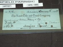 Maxfield Parrish Hand Signed Check, Issued 1905