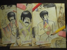 Set of 4 Beatles Lithographs on Canvas
