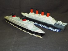 (2) Ocean Liner Liquor Bottle Decanters