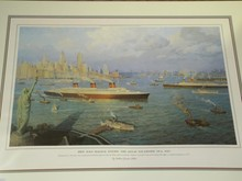 Signed Ltd Ed Litho NY Harbor During Steamship Era