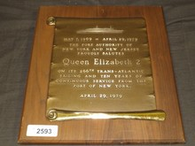 1979 Queen Elizabeth 2 Port Authority Plaque